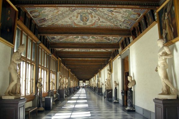 Entrance vestibule and east corridor, Uffizi Gallery