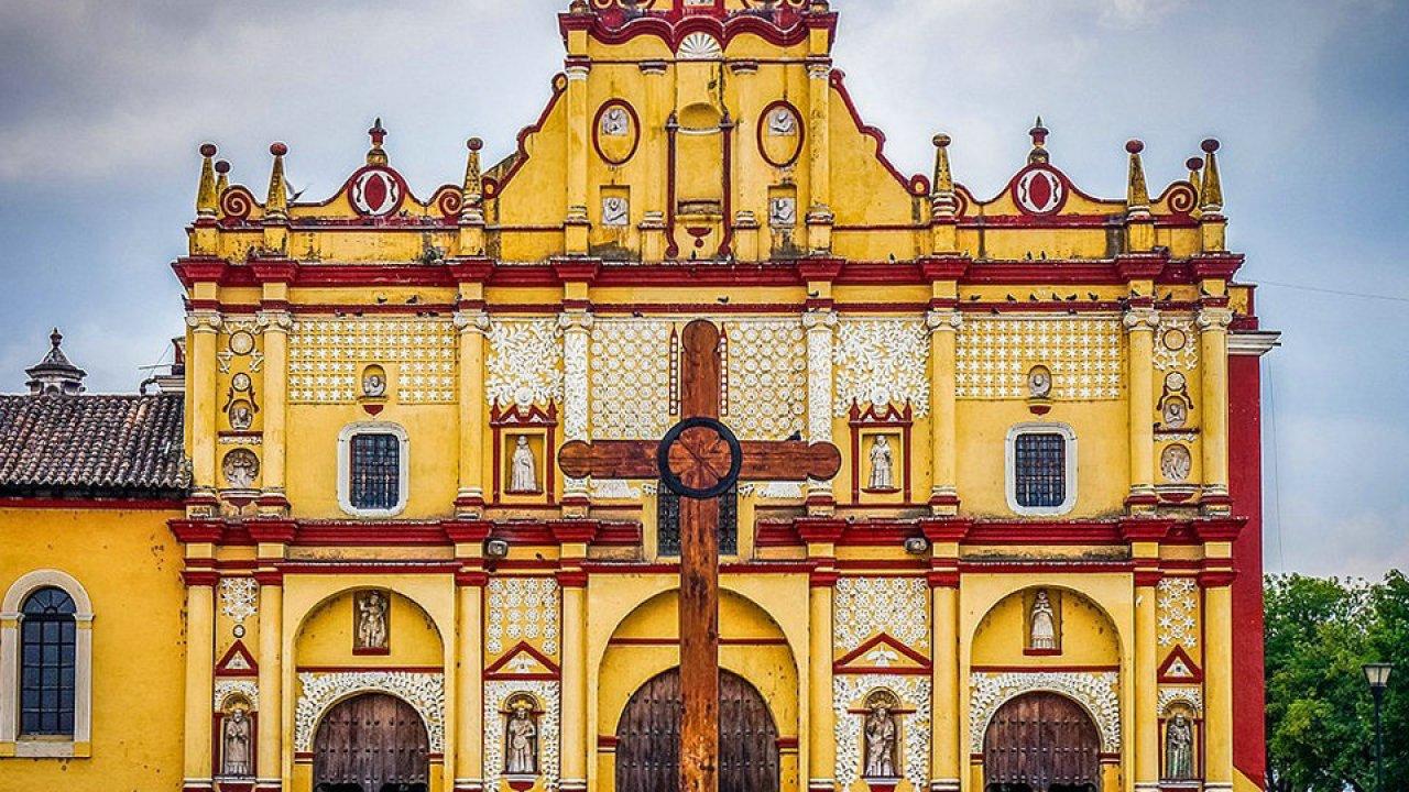 Fachada de la Catedral de San Cristóbal de las Casas