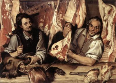 Escena en la cual dos carniceros sonrientes nos muestran su género, en una alegoría de la abundancia