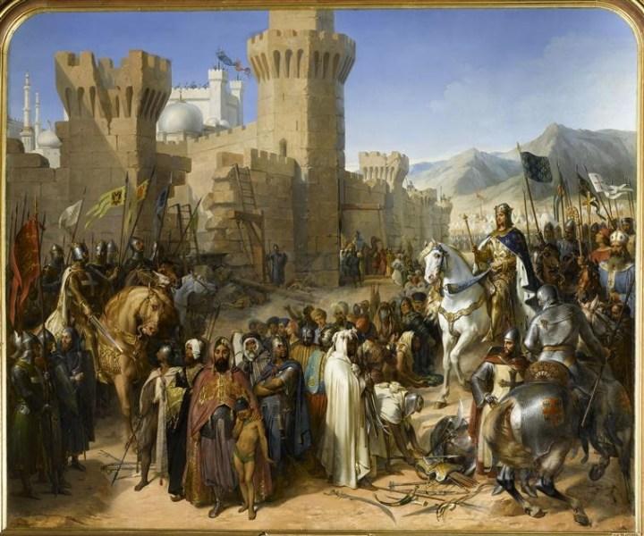 Saint-Jean d'Acre remise à Philippe Auguste et à Richard Cœur-de-Lion, le 13 juillet 1191, par Merry Joseph Blondel en 1840. Richard est le cavalier à gauche et Philippe Auguste monte un cheval blanc.