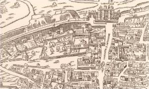 Hôtel des Tournelles - extrait du plan de Truschet Hoyau - 1552