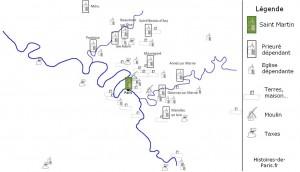 Les domaines de Saint Martin des champs en 1150 en région parisienne