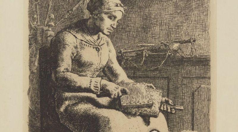 cardeurs de laine extrait estampe de Millet