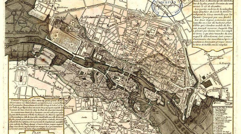 Plan de la crue de 1740 par Philippe Buache