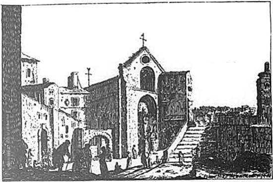 Saint Denis de la Chartre en 1600 d'après une eau forte Israel Silvestre