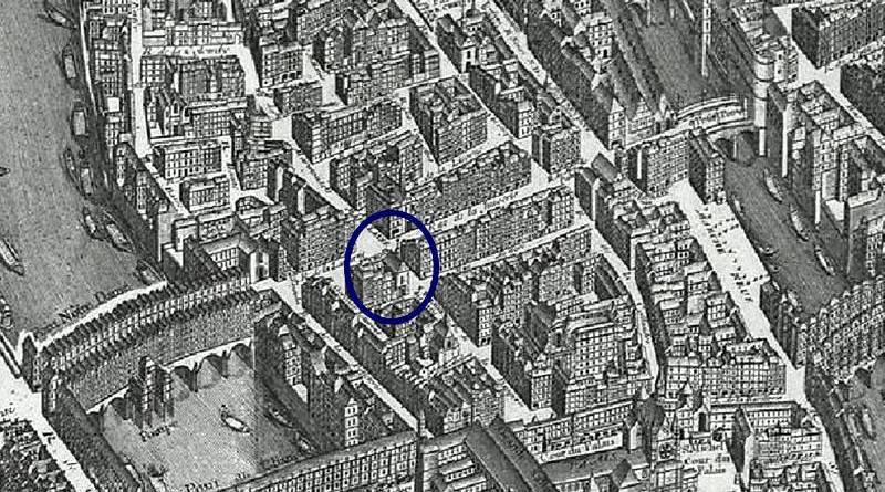 Sainte Croix de la Cité extrait du plan de Turgot 1739