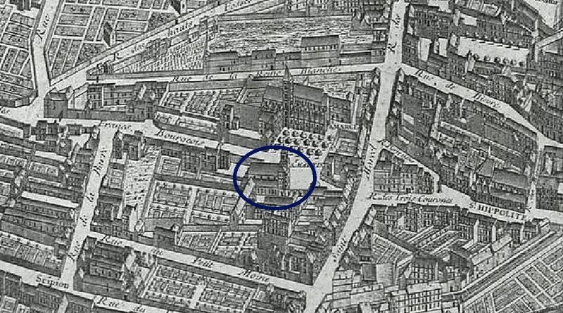 Saint Martin du Cloître extrait du plan de Turgot 1739