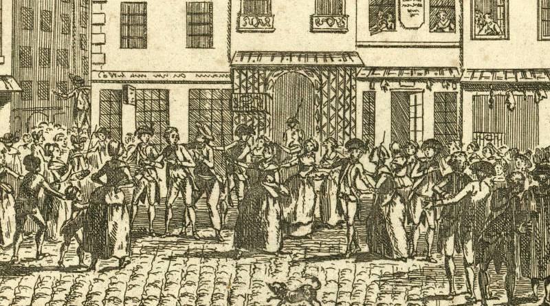 Malheur arrivé à Paris le 21 8.bre 1789 a 8 heures du matin : le nommé François, boulanger, rue de la Juiverie, fut enlevé de sa boutique, par une foule de séditieux qui l'ont conduit à la ville, où on l'a accusé d'avoir chez lui des pains pourris