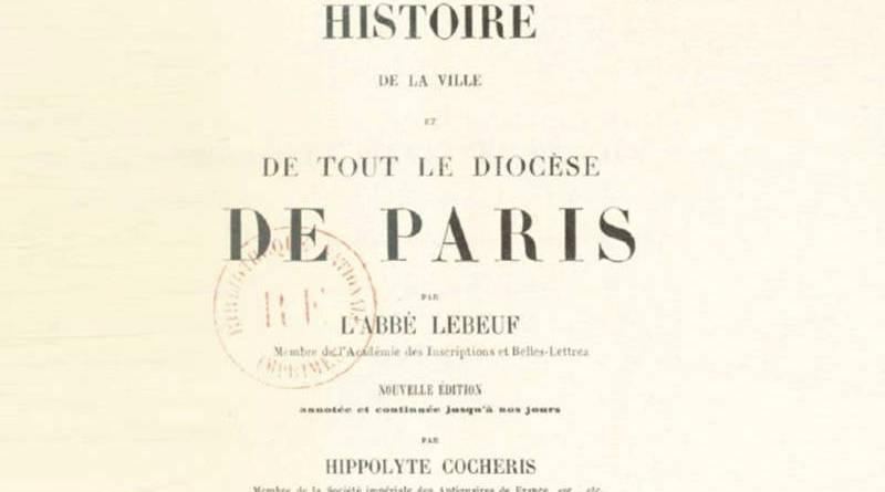 réédition par Hippolyte Cocheris de l'Histoire de Jean Lebeuf