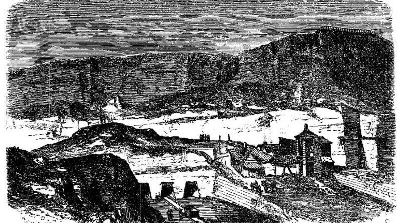 Vue des carrières des Buttes Chaumont dans les années 1850 par Adolphe Jouanne