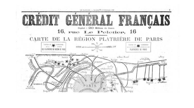 carte de la région exploitée par la Société plâtrière de Paris en 1880