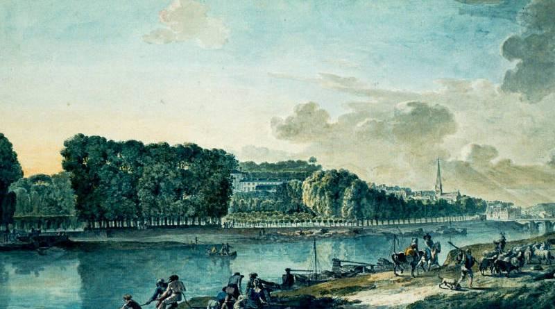 vue générale de Saint Cloud depuis la rive opposée de la Seine par Antoine Meunier en 1788