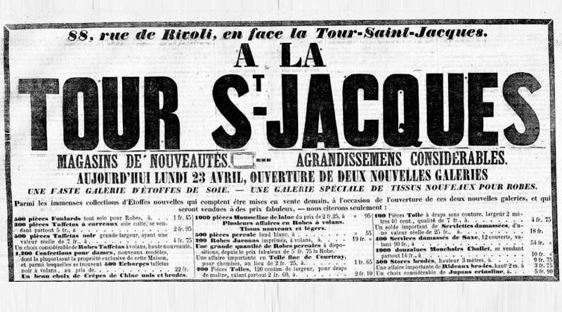 publicité du magasin de nouveautés de la Tour Saint Jacques en avril 1854 dans la Presse