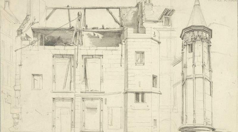 Intérieur de la cour de la maison rue Jean Tison démolie en 1852