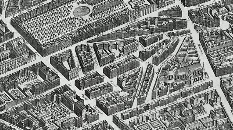 le quartier de la Butte Saint Roch en 1709 extrait du plan de Turgot
