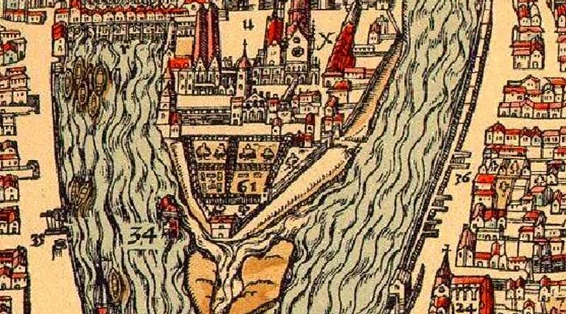 pointe occidentale de l'île de la Cité extrait du plan de Belleforest 1575