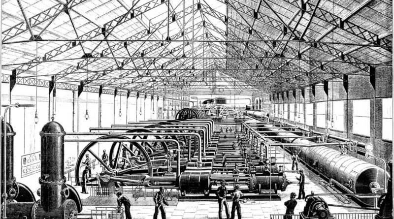 Salle des machines de l'usine d'air comprimé Victor Popp
