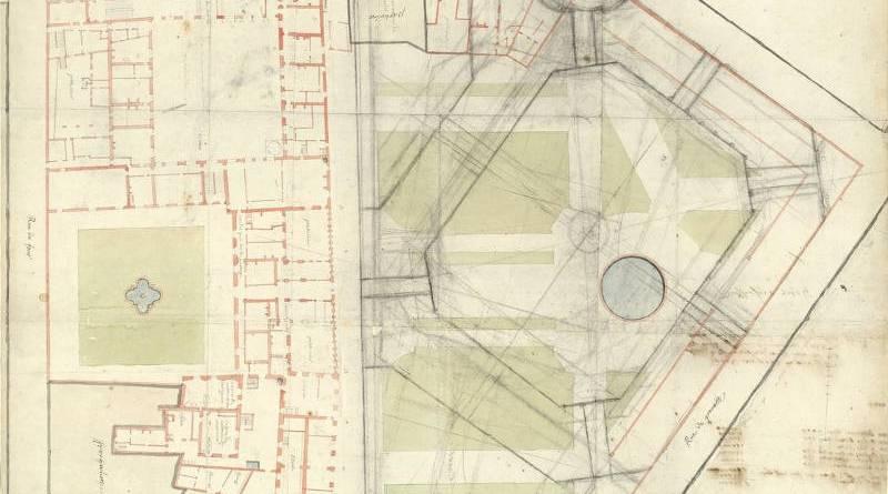 Plan général de l'Hôtel de Soissons à Paris avec un projet de place dans le jardin au crayon