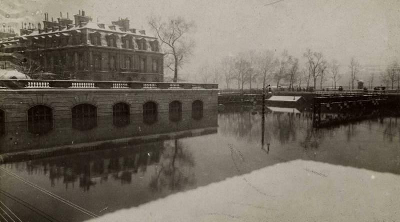 gare des Invalides inondée par la crue de 1910