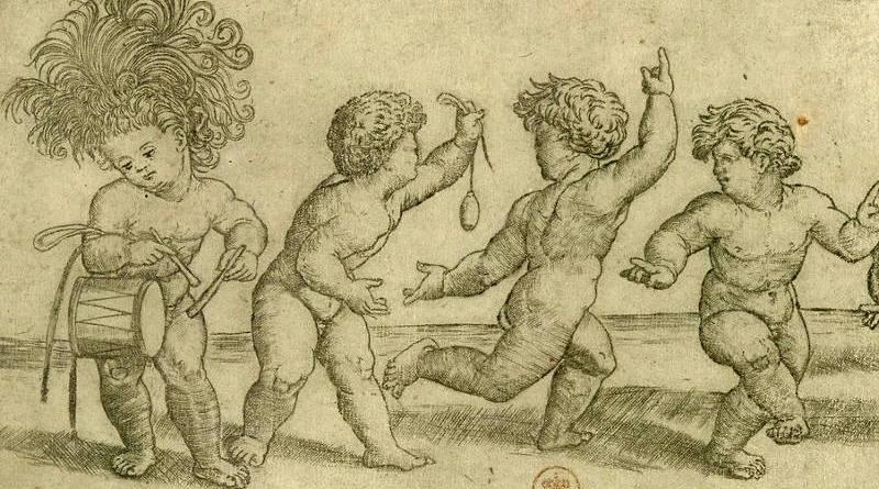 Cinq enfants dansant par Giovanni Antonio