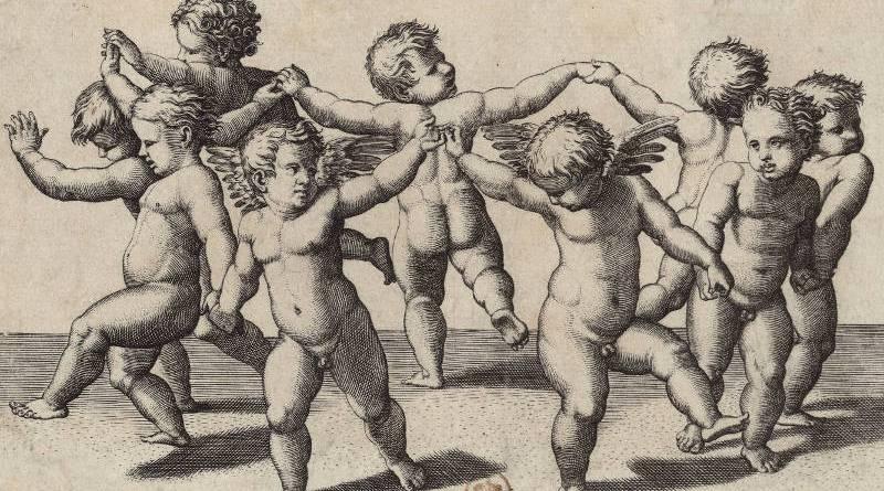 danse d'enfants conduite par deux amours par Marc-Antoine Raimondi