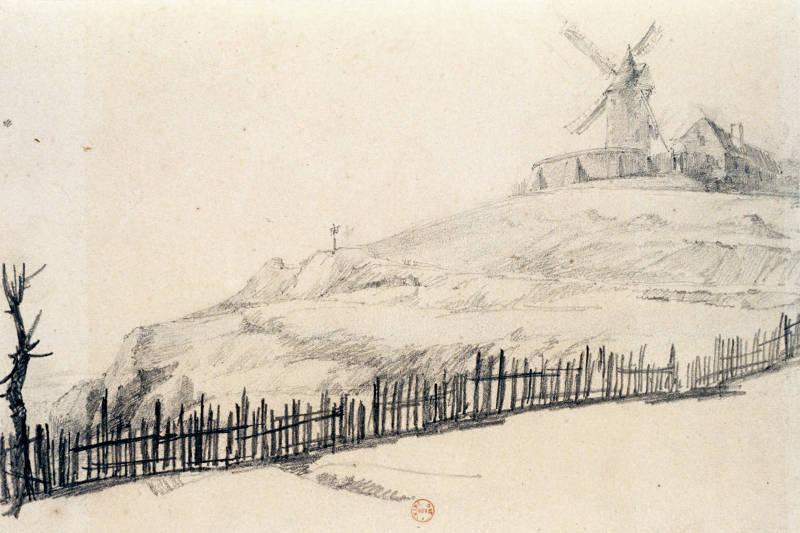 Dessin d'un moulin de Montmartre au XIXe siècle