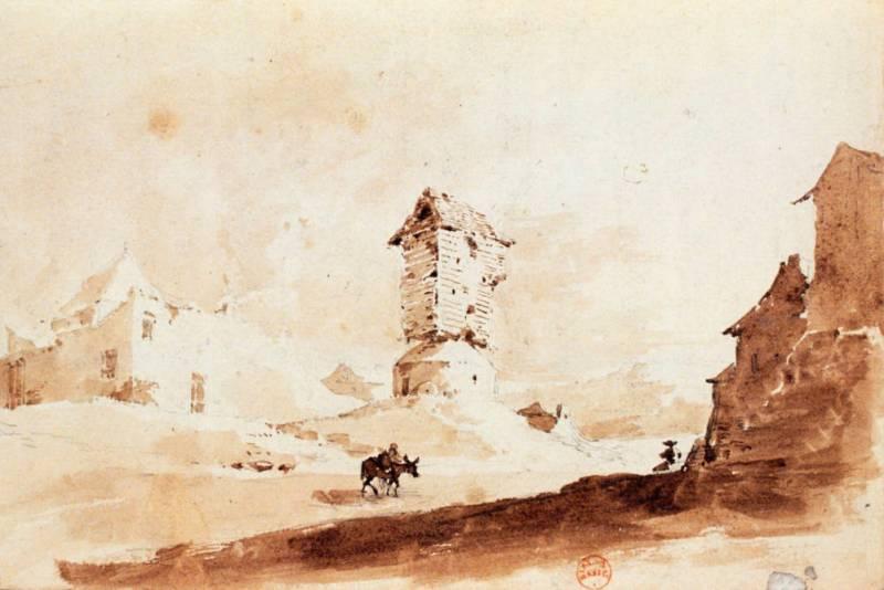 Vue prise à Montmartre un moulin en ruine au XVIIIe siècle