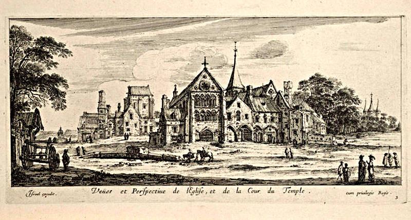 Vue et perspective de l'église et de la cour du Temple gravé par Israel Silvestre