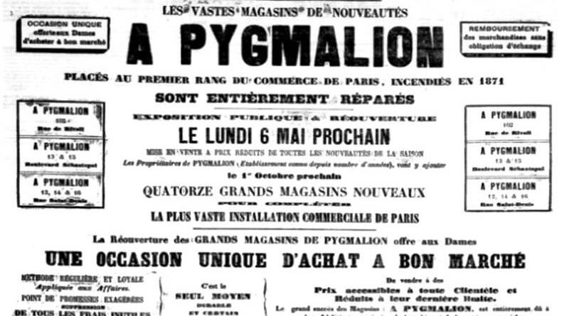 publicité du magasin de nouveautés Pygmalion