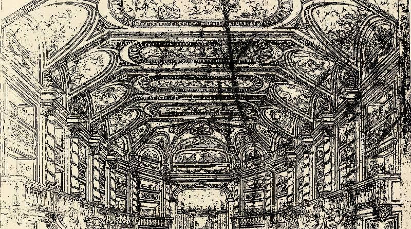 Salle de spectacle à l'antique ouvrant sur un parc par Jean Berain