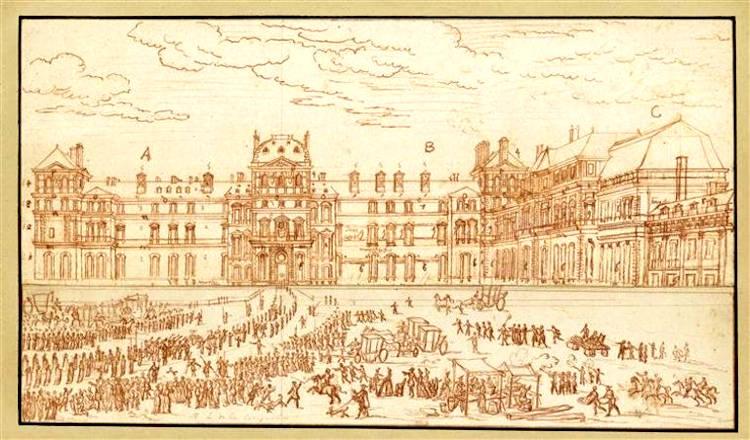 Cortège dans la cour intérieure du Louvre
