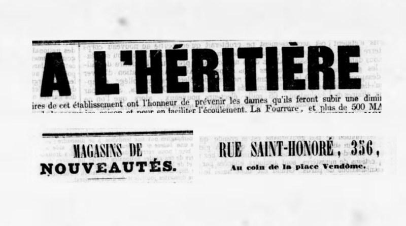 publicité pour le magasin l'Héritière extraite du Commerce du 21 décembre 1845
