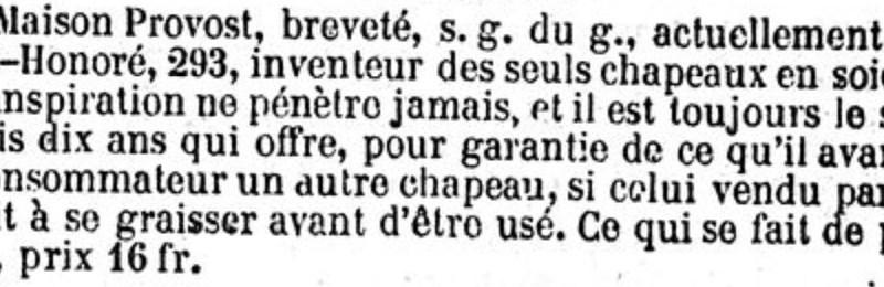 publicité pour la maison provost publiée dans le Siècle du 27 juillet 1855