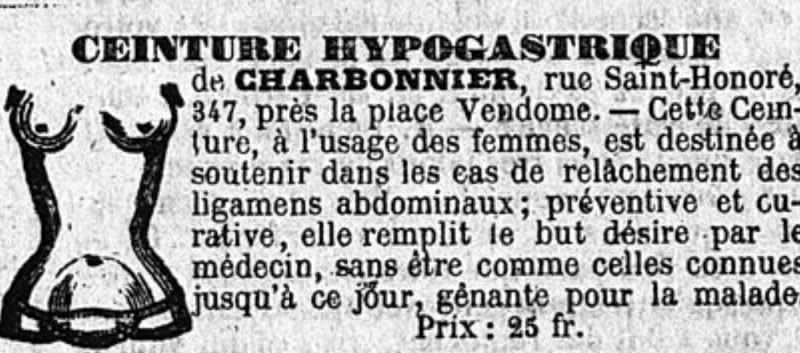 publicité pour le bandagiste Charbonnier publiée dans le Constitutionnel du 15 mai 1852