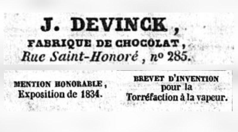 publicité pour le chocolatier Devinck publié dans le Journal des débats politiques et littéraires du 27 décembre 1835