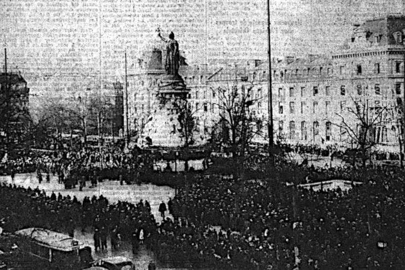 la statue de la République en février 1936 - extrait du Populaire du 10 février 1936