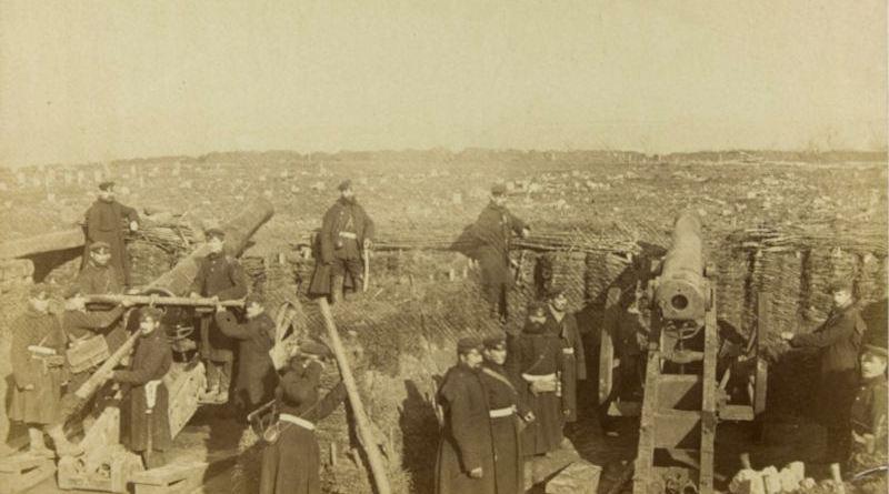 Vue à l'intérieur d'une batterie prussienne établies dans les hauteurs de Chatillon et Chaville