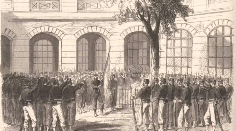 Francs tireurs de Paris réunis à l'école Turgot en septembre 1870 - extrait du Monde illustré du 10 septembre 1870