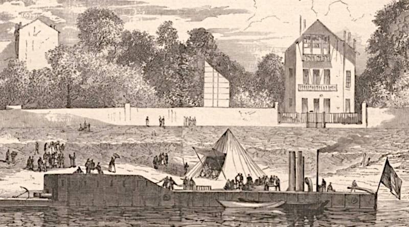 Une des chaloupes placées à Saint Cloud en septembre 1870 - Le Monde illustré du 17 septembre 1870