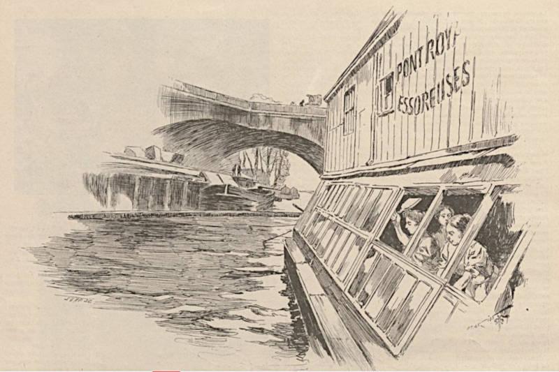Lavandières au bateau lavoir extrait du Monde illustré du 30 décembre 1899