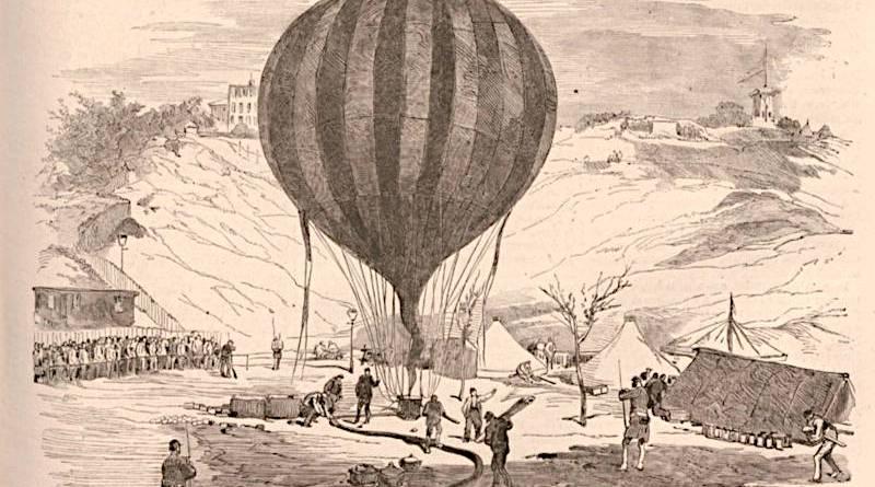 le ballon de Nadar sur la place Saint Pierre - extrait du Monde Illustré du 1er octobre 1870