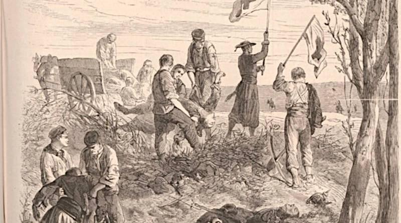 le vicaire de Meudon venant chercher les morts - Extrait du Monde Illustré du 1er octobre 1870