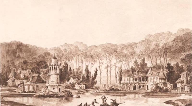 la tour de Marloborough et le hameau de la reine - dessin gouache de Châtelet
