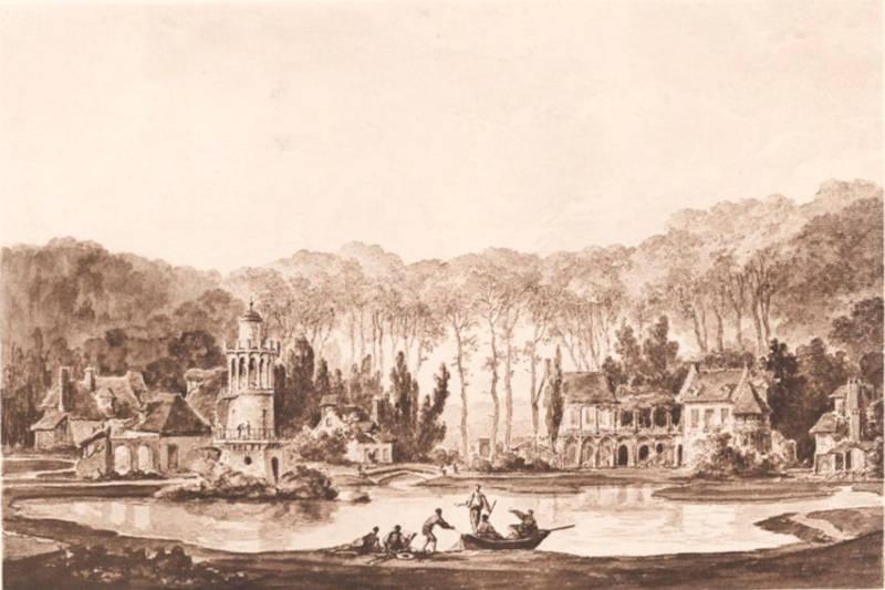 la tour de Marlborough et le hameau de la reine - dessin gouache de Châtelet
