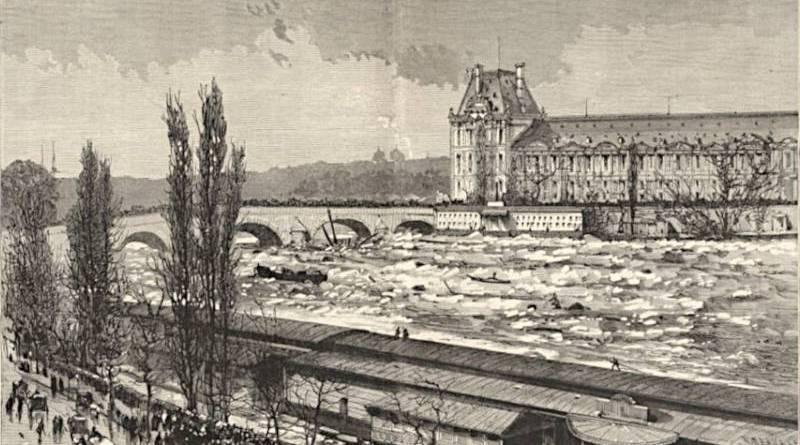 La débacle de la Seine de 1880 près du pont Royal - extrait du Monde Illustré du 10 janvier 1880