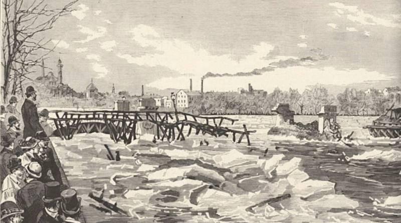 curieux venus voir la débacle de la Seine de 1880 - extrait du Monde Illustré du 10 janvier 1880