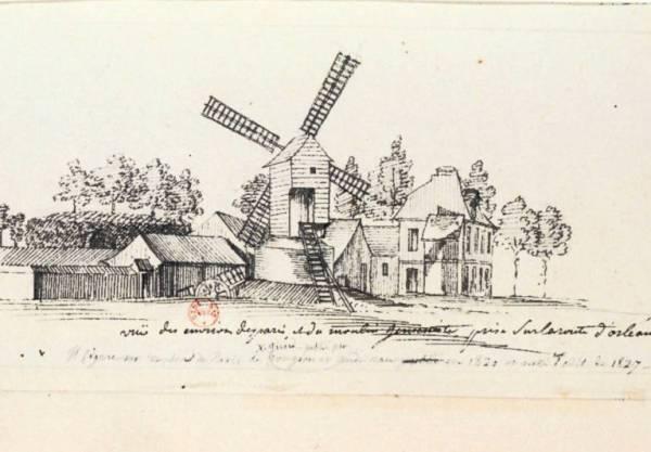 Vue des environs de paris et du moulin janséniste prise sur la route d'orléans