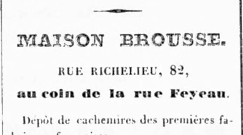 publicité pour la maison Brousse extrait du Carrousel du 1er janvier 1836