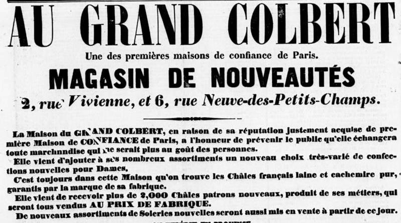 publicité pour la maison de nouveauté du Grand Colbert extrait du Journal des Villes et des Campagnes du 16 avril 1857