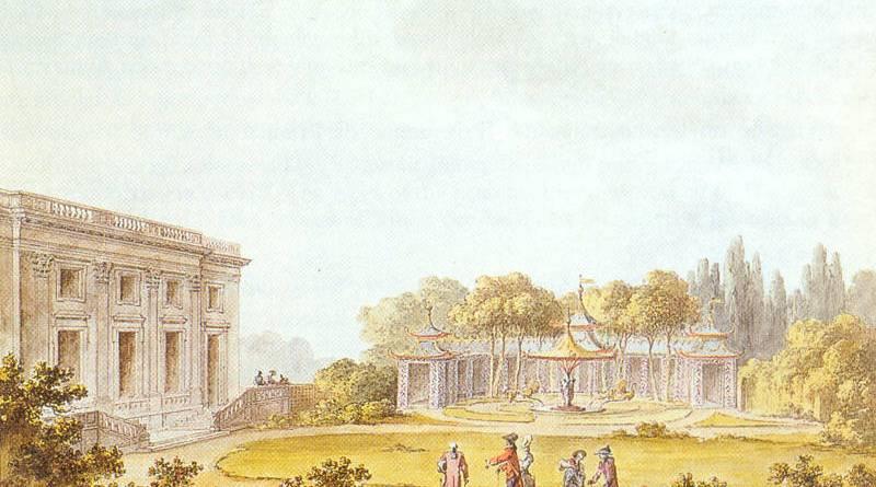Vue du Jeu de Bague, de la galerie et d'une des façades du Château par Claude Louis Chatelet